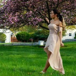 Taupe  Chiffon Asymmetrical Dress